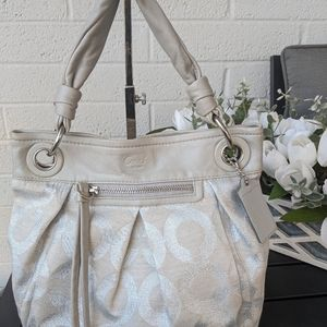 Coach Silver Canvas Handbag 13511